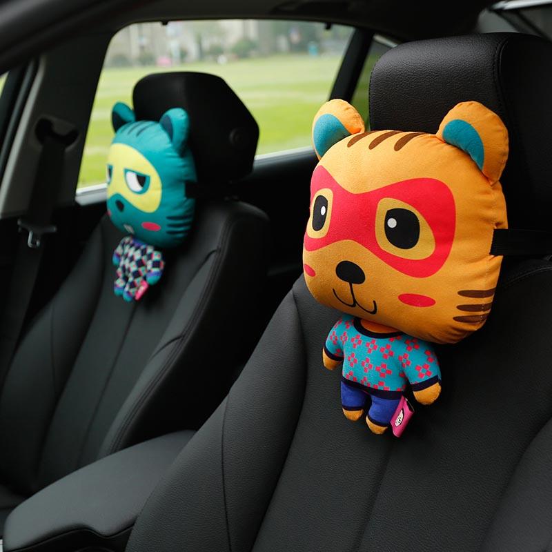 卡裏努努正品 汽車頭枕卡通可愛汽車內飾安全 後排靠枕車用