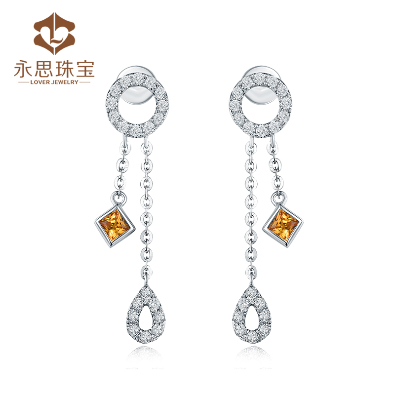 Yongsi jewelry 24 points white 18K Gold Sapphire Earrings female 36 points diamond colored gem earrings earrings stud