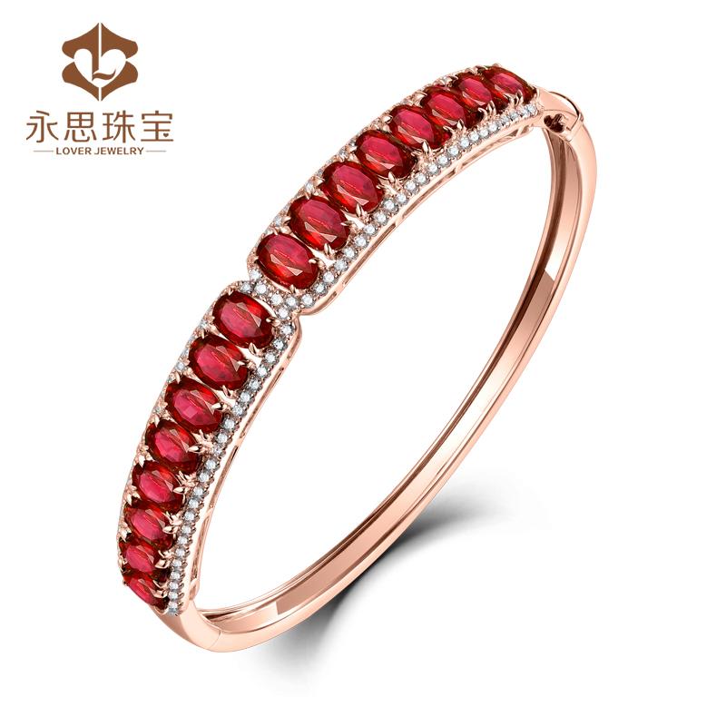 Yongsi jewelry 9.6 carat 18K Gold Natural Ruby Bracelet 86 point diamond color gem color treasure Bracelet