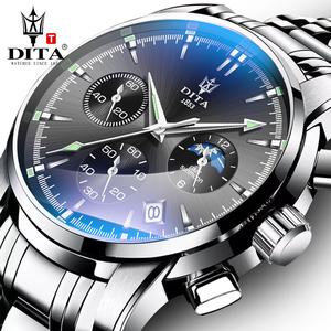 迪塔手表男士全自动机械表潮流时尚新概念钢带防水运动石英表男表