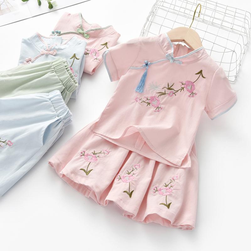 女童汉服中国风改良古装2020夏季新款儿童小女孩洋气唐装复古套装