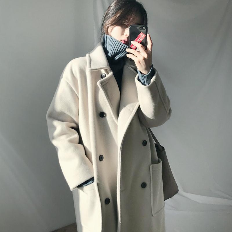毛呢外套女大衣中长款2018新款流行韩版秋冬季赫本风加厚呢子学生