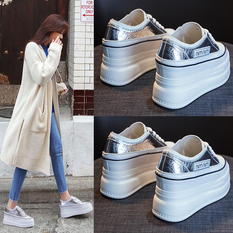 内增高小白鞋女2020夏季新款厚底松糕鞋网鞋高跟老爹鞋透气网面潮图片