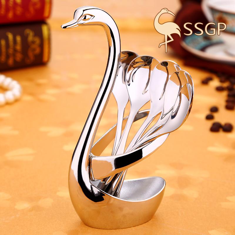 SSGP 咖啡勺子欧式小奢华小勺子创意可爱304不锈钢搅拌勺棒咖啡匙