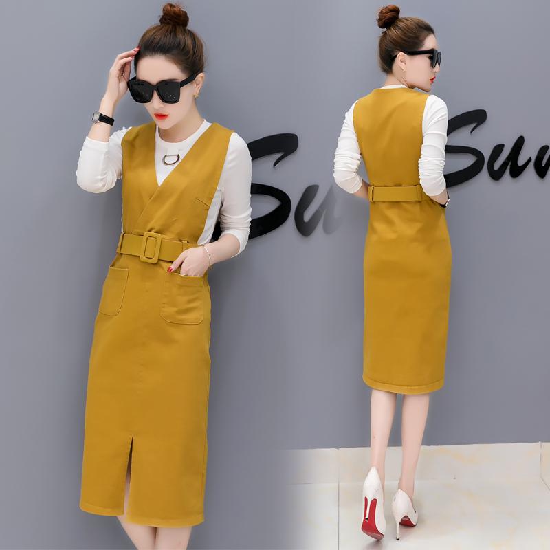 女式长袖连衣裙子春秋装2018新款韩版修身显瘦两件套气质小香风潮