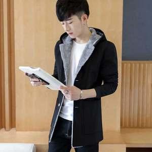 秋季男士外套韩版中长款加绒加厚风衣潮春秋衣服夹克帅气冬季