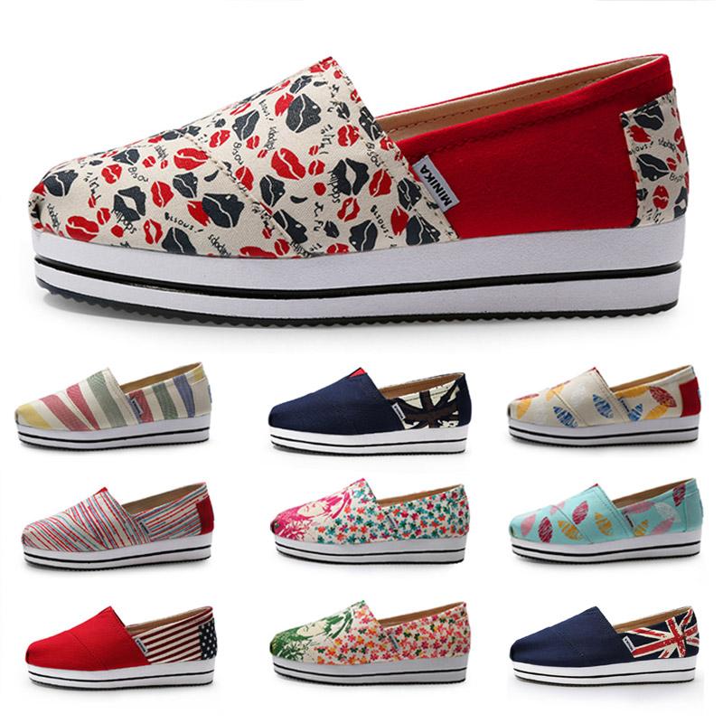 咪呢哢老北京布鞋女一腳蹬厚底帆布鞋 懶人布鞋女 坡跟搖搖鞋