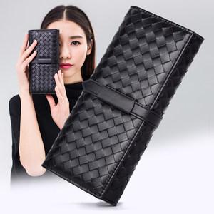 伊沫2017新款女士钱包长款手工羊皮编织真皮手包欧美钱夹女式皮夹