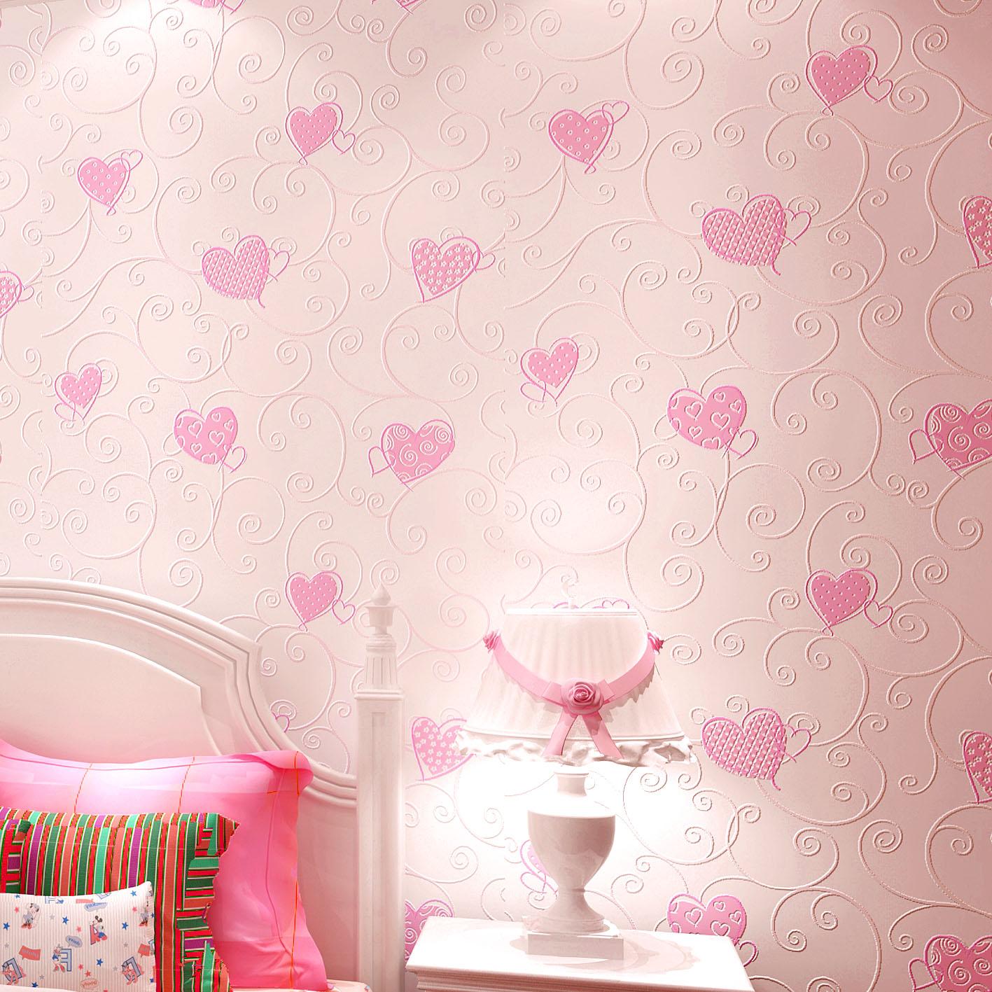 墙纸自粘卧室温馨 儿童房心形女孩墙纸3d立体无纺布自粘壁纸