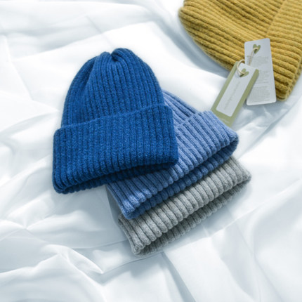 帽子女冬韩版简约保暖毛线帽纯色文艺百搭针织帽糖果色帽子护耳帽
