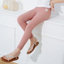 女童冰丝螺纹打底裤夏季新款儿童洋气女宝宝内外穿薄款防晒九分裤