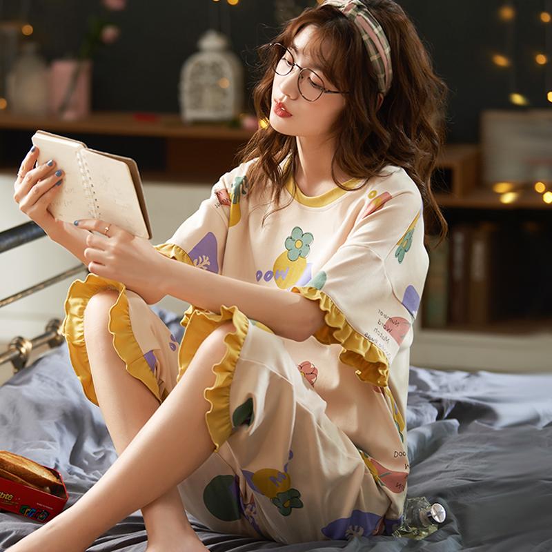 2020新款女人夏季纯棉短袖洋气睡衣