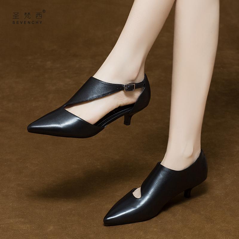 小跟高跟鞋女细跟3cm2019新款夏季尖头低跟凉单鞋夏款中跟真皮鞋