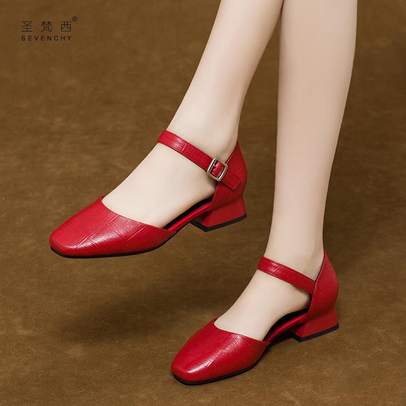 2019新款夏季女鞋方头红色包头凉鞋女粗跟夏款百搭单鞋中跟真皮鞋