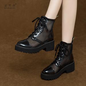 厚底马丁靴凉鞋女凉靴短靴网靴子