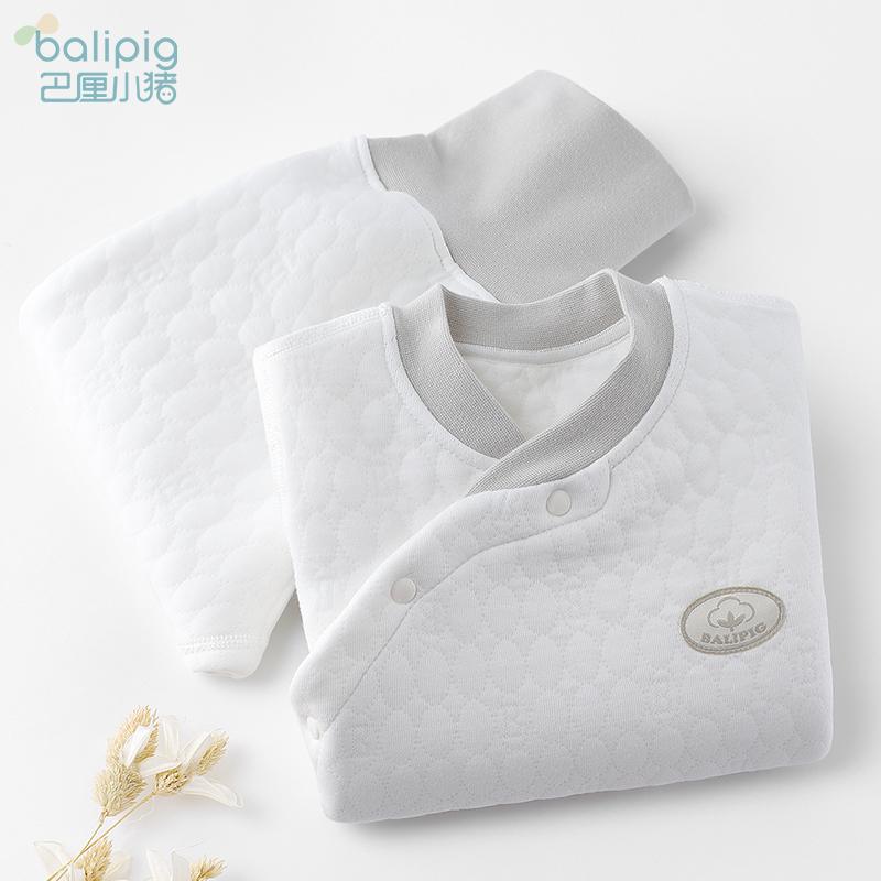 婴儿保暖内衣套装纯棉新生儿冬装女0岁1男童睡衣夹棉宝宝秋季衣服