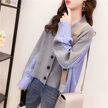 2019 early spring new net red shirt stitching knit cardigan women small fresh air V-neck sweater coat tide
