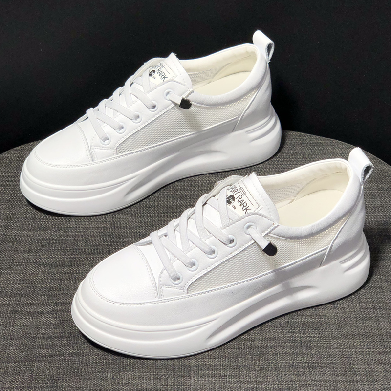 真皮小白鞋女2020新款夏季透气网面鞋百搭厚底松糕5CM内增高女鞋