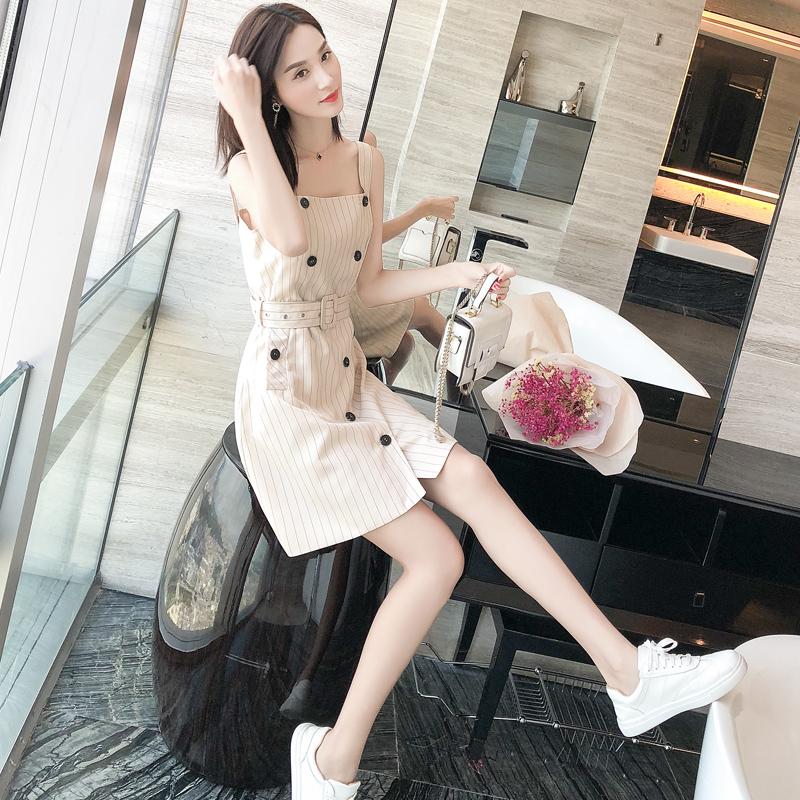 吊带裙女夏学生韩版小清新外穿裙子2018夏季新款小个子高腰连衣裙