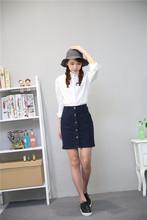 牛仔包臀裙女夏高腰显瘦A字裙学生韩版时尚三排扣短裙