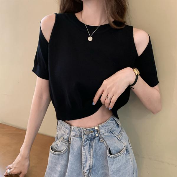 TS47454#夏季冰丝短袖心机露肩T恤女ins设计感短款露脐上衣潮