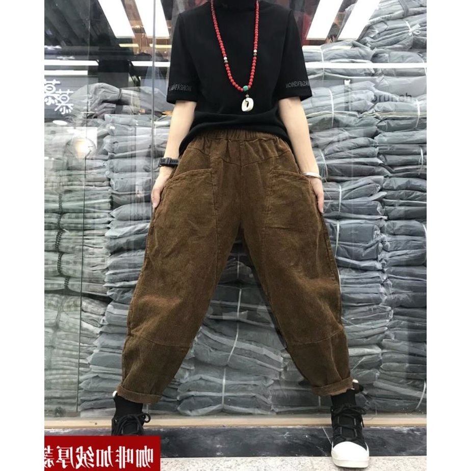 New solid color corduroy slacks in fall / winter 2018 personalized oversized warm radish pants with elastic waist