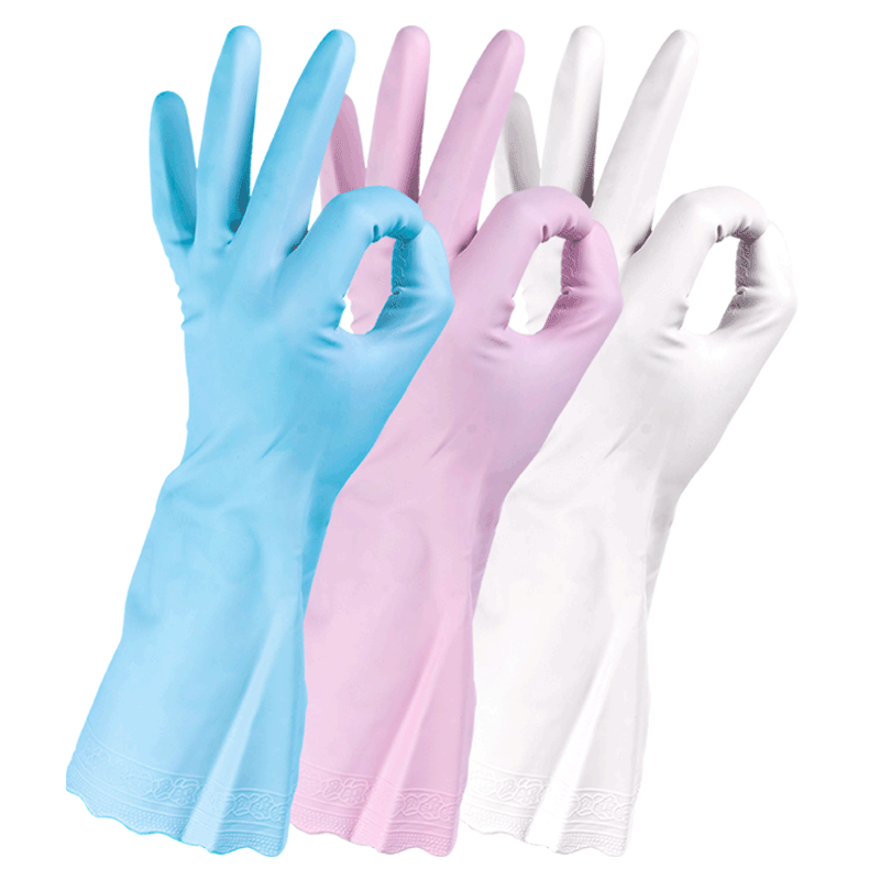 Camellia gloves dishwashing rubber plus velvet thickening kitchen waterproof cleaning housework durable laundry winter women's thin section sticky hands