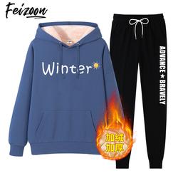 冬季套装女2020年新款中学生连帽外套运动休闲加绒加厚卫衣女秋冬