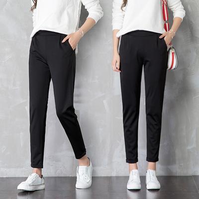 哈伦裤女2020新款宽松西装黑色加绒韩版西裤休闲直筒九分春秋冬季