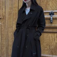 风衣女中长款韩版加棉2019流行新款宽松大码ins过膝黑色大衣外套