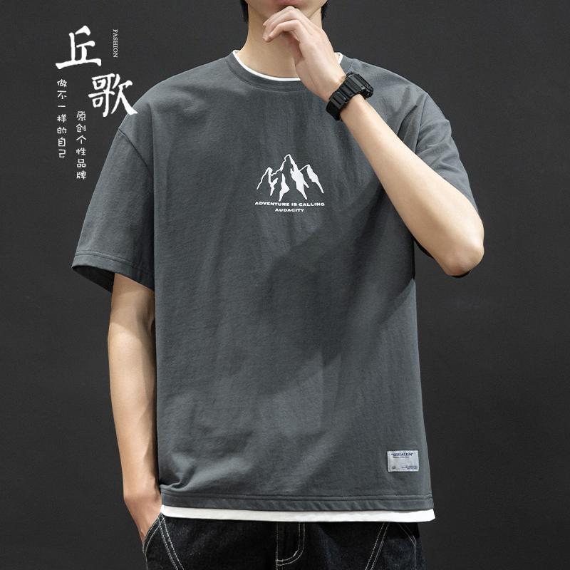 夏季日系t恤短袖男潮牌ins假两件潮流纯棉宽松落肩半袖上衣服体恤