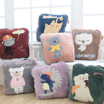 Cute Pillow car folding nap cuddle Pillow Quilt Dual use cushion female office coral Velvet Pillow Blanket thickened