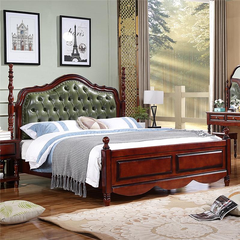 1.8米美式经典实木床 双人床婚床欧式复古大床皮床卧室奢华家具