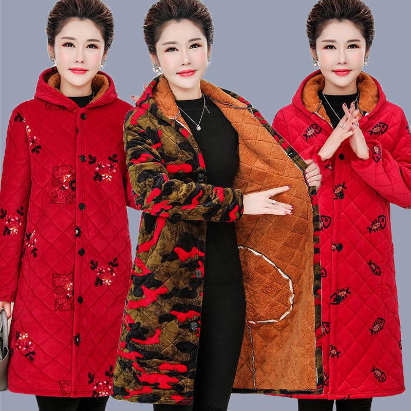 中老年连帽棉衣女秋冬季女装中长款外套老太太妈妈装加绒加棉棉袄网上购物优惠券