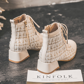 马丁靴女2020新款秋冬加绒米色短靴百搭小香风系带粗跟显脚小靴子