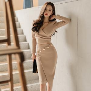 7595【高档女装】#2017冬季新款韩版两件套气质V领上衣...