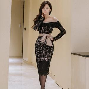 7681#【高档女装】新款韩版OL气质一字领修身系带蕾丝荷叶...
