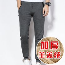Mens cotton pants male winter teen middle-aged outside wearing velvet thickening slimming sports casual pants warm winter