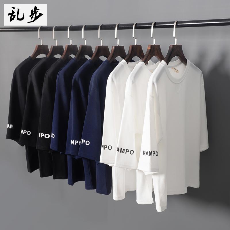 夏季宽松七分袖男韩版bf风学生印花上衣日系原宿潮流五分短袖t恤