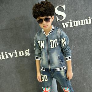 男童春装套装3-4-5-6-7-8-9-10岁男孩童装牛仔长袖小学生儿童衣服