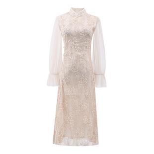 中國風蝕骨旗袍改良版連衣裙年輕款少女復古智燻裙法式桔梗仙女裙
