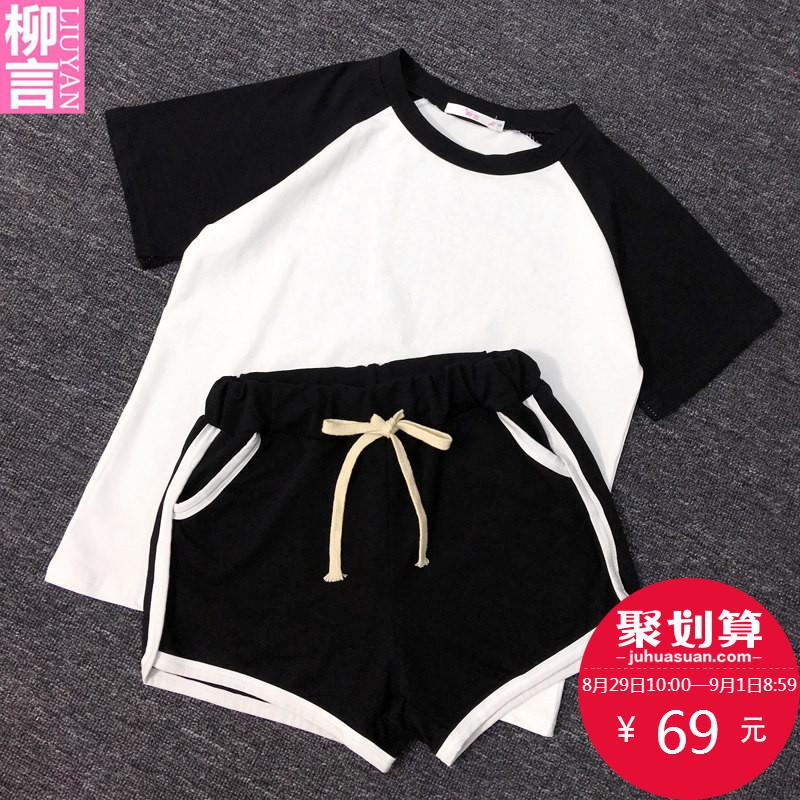 运动套装女夏2018新款休闲时尚两件套短裤跑步夏季运动服套装女潮