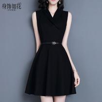 气质小黑裙2021春秋新款女装淑女无袖背心裙A字V领修身黑色连衣裙
