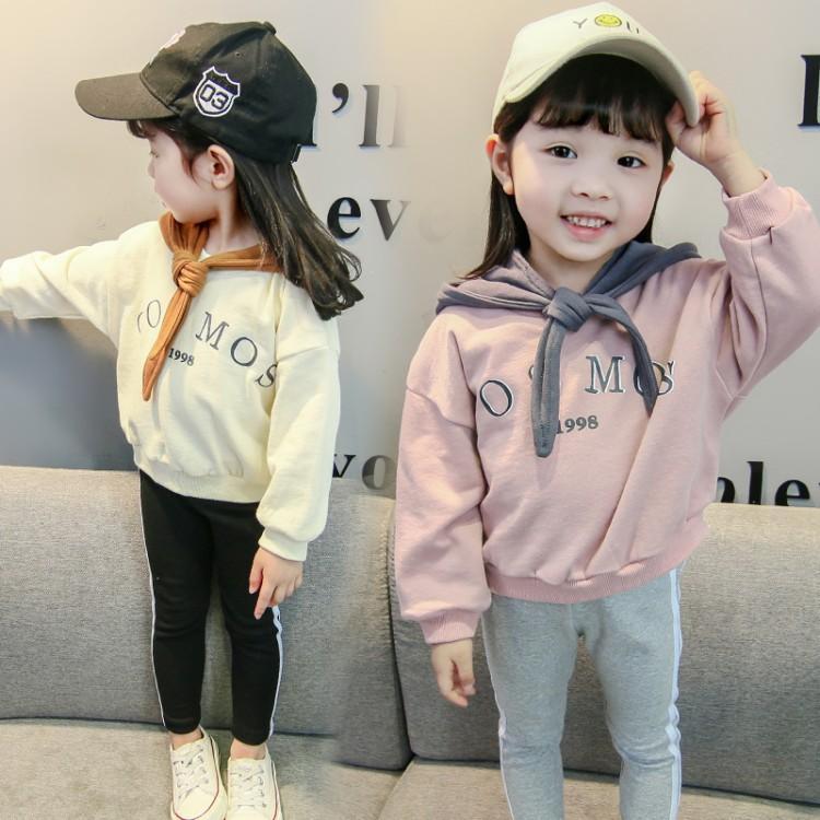 2018秋季新款女童字母印花连帽长袖套头卫衣上衣