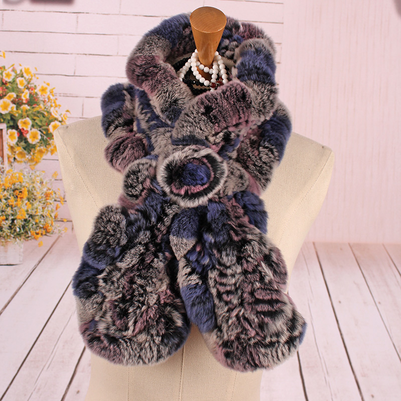 伊米卡皮草围巾中老年獭兔毛荷叶边编织套头围脖女冬季保暖加厚