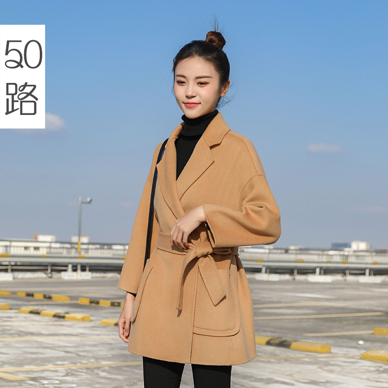 Double sided cashmere coat women's short 2019 new Korean Hepburn popular high-end wool small woolen coat