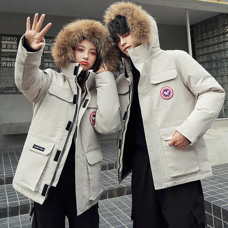2021年冬季新款男士短款羽绒服青年加厚情侣工装外套潮流品牌男装