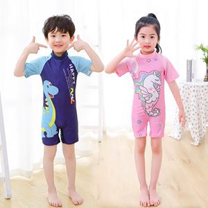 儿童泳衣男童女童连体中大童小童长短袖沙滩防晒男孩宝宝可爱游泳