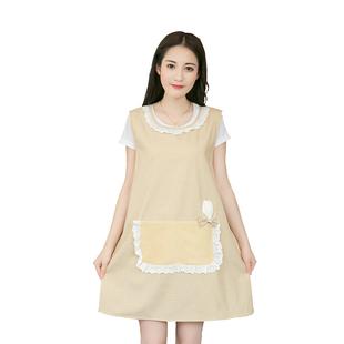 韩版厨房家居单层透气成人可爱围裙