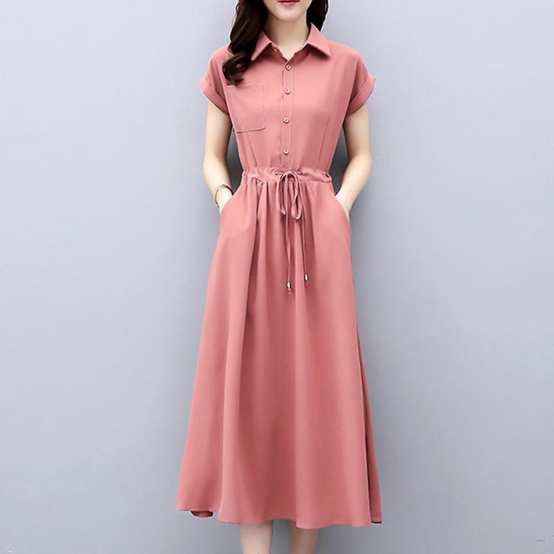 气质穿搭薄款衬衫连衣裙2020夏季新款纯色收腰显瘦轻熟风衬衣长裙